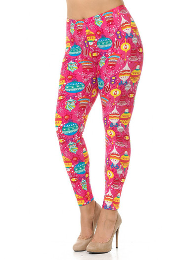 Wholesale - Buttery Soft Pink Christmas Plus Size Leggings - 3X-5X