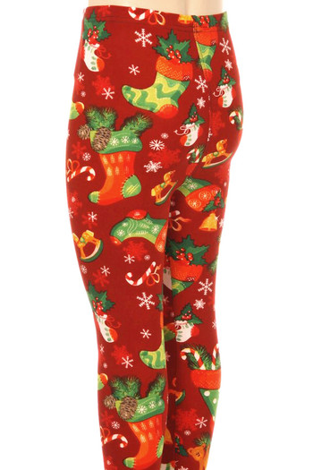 Wholesale - Buttery Soft Ruby Red Christmas Stocking Kids Leggings