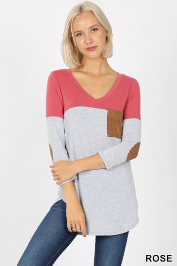 Front view of Rose Wholesale - Color Block V-Neck 3/4 Sleeve Top with Front Pocket