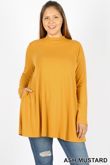 Front image of Ash Mustard Wholesale - Long Sleeve Mock Neck Top - Plus Size