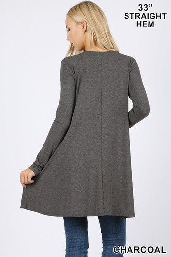 Back of Charcoal Wholesale - Long Sleeve Swing Tunic with Pockets