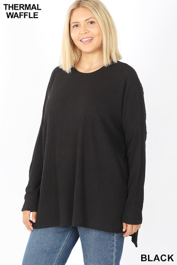 Front image of Black Wholesale - Brushed Thermal Waffle Knit Round Neck Hi-Low Sweater
