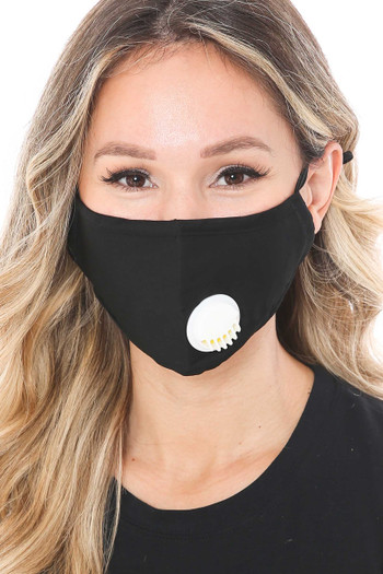 Wholesale - Solid Face Mask with Nose Bar - Air Valve - PM2.5 Filter