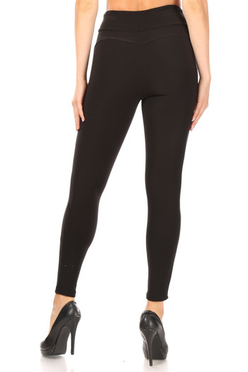 Wholesale - Black High Waisted Treggings with Zipper Pockets