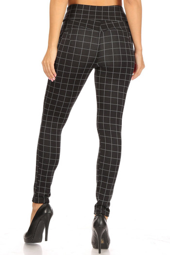 Wholesale - Black and White Grid Print High Waisted Body Sculpting Treggings with Pockets