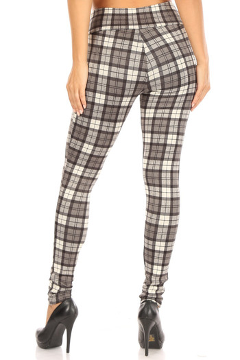 Wholesale - Monochrome Plaid High Waisted Treggings with Zipper Accent Pockets