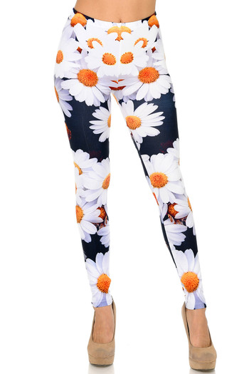 Front side image of Wholesale -  Creamy Soft Daisy Bunch Leggings - Plus Size