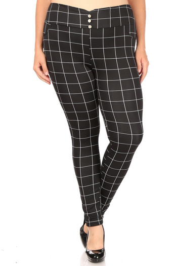 Wholesale - High Waisted Grid Print Button Detail Plus Size Treggings with Pockets