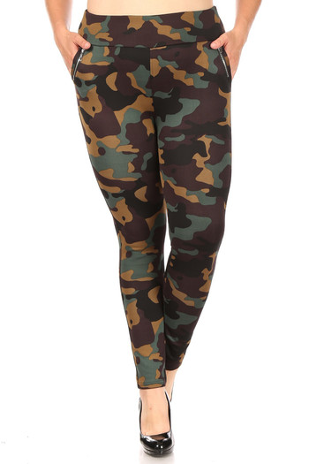 Wholesale - Brown Camouflage High Waisted Plus Size Treggings with Zipper Accent Pockets