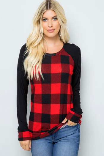 Red Wholesale - Buffalo Plaid Contrast Solid Long Sleeve Top - Plus Size