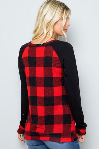 Red Wholesale - Buffalo Plaid Contrast Solid Long Sleeve Plus Size Top