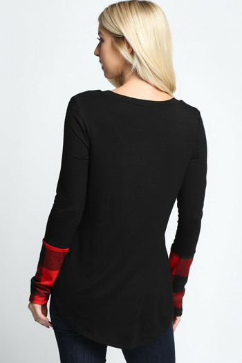 Wholesale - Plaid Cuff Solid Contrast V Neck Long Sleeve Plus Size Top