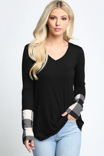 Ivory Wholesale - Plaid Cuff Solid Contrast V Neck Long Sleeve Top