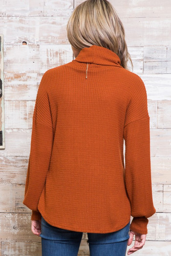 Rust Wholesale - Waffle Knit Cowl Neck Long Sleeve Plus Size Top