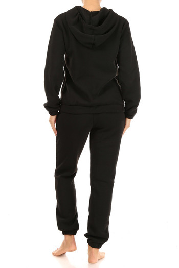 Black Wholesale - 2 Piece Solid Fleece Lined French Terry Joggers and Hoodie Set