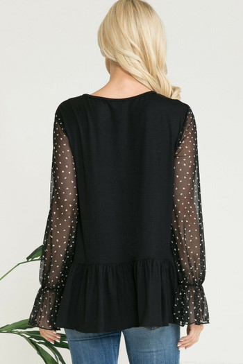 Black Wholesale - Speckled Mesh Sleeve Pleated Hem Bell Cuff Top