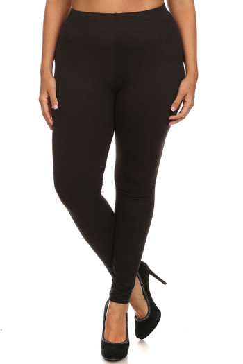 Front side image of Wholesale - USA Cotton Full Length Plus Size Leggings
