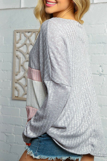 Wholesale - Grey and Rose Color Block Ribbed Long Sleeve V Neck Top - Plus Size