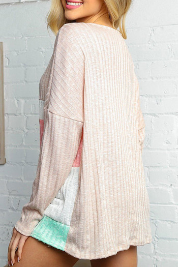 Wholesale - Taupe and Peach Color Block Ribbed Long Sleeve V Neck Top
