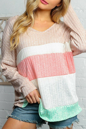 Wholesale - Taupe and Peach Color Block Ribbed Long Sleeve V Neck Top - Plus Size