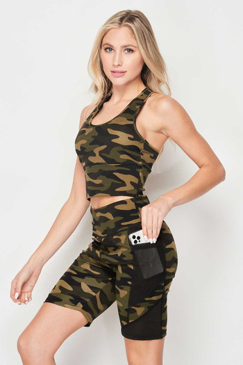Wholesale - High Waisted Camouflage Mesh Pocket Biker Shorts and Crop Top Workout Set