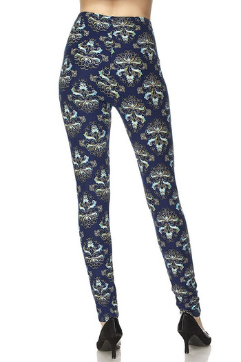 Wholesale - Buttery Soft Imperial Blue Damask Leggings