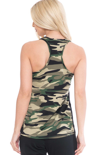 Wholesale - Green Camouflage Racerback Workout Tank Top