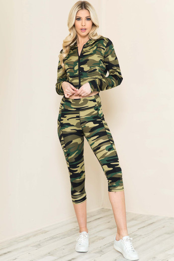 Wholesale - 2 Piece Green Camouflage Capris and Cropped Hooded Jacket Set