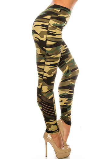 Wholesale - Green Camouflage Serrated Mesh High Waisted Sport Leggings