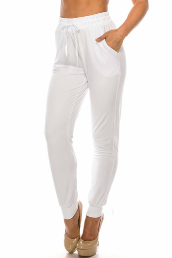 Wholesale - Buttery Soft Solid Basic White Joggers - EEVEE