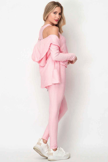Wholesale - Pastel 3 Piece Scrunch Butt Leggings Tank Top and Hooded Jacket Set