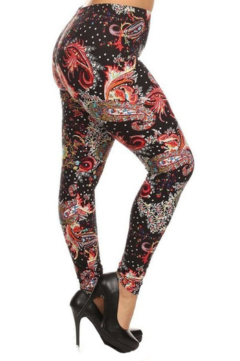 Wholesale - Buttery Soft Carnival Paisley Extra Plus Size Leggings - 3X-5X