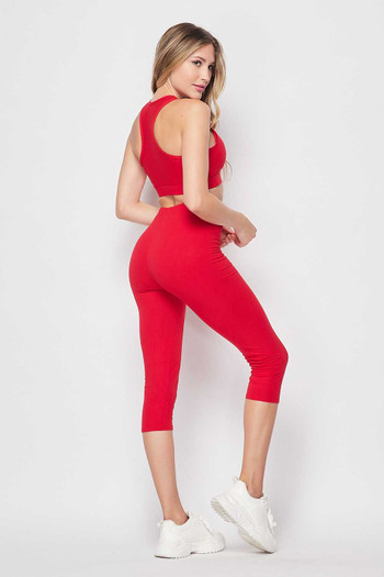 Wholesale - Buttery Soft Basic Solid Capri and Crop Top Set