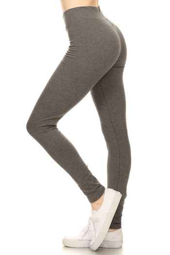 Left Side image of Charcoal Wholesale - High Waisted Cotton Sport Leggings