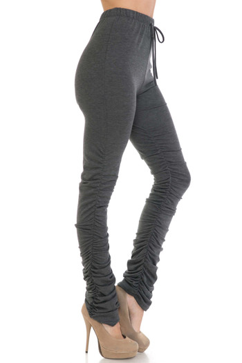 Wholesale - Premium Side Ruched Stacked Plus Size Leggings - Made in the USA