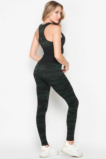 Wholesale - 2 Piece Seamless Olive Camouflage Bra Top and Leggings Sport Set