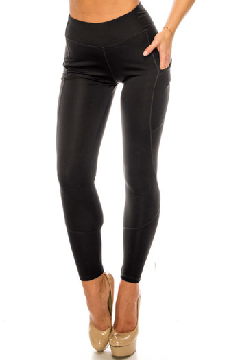 Wholesale - Solid Black Contour Seam High Waisted Sport Leggings with Pockets