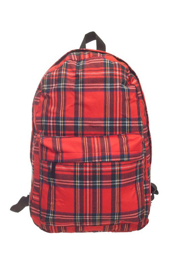 Wholesale - Red Tartan Plaid Graphic Print Backpack