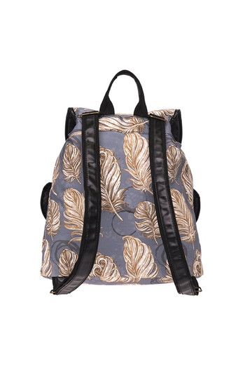 Wholesale - Golden Feathers Graphic Print Buckle Flap Backpack
