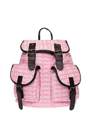Wholesale - Hotline Bling Graphic Print Buckle Flap Backpack