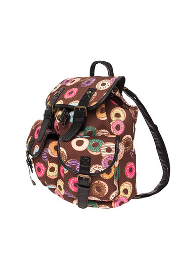 Wholesale - Delicious Donuts Graphic Print Buckle Flap Backpack