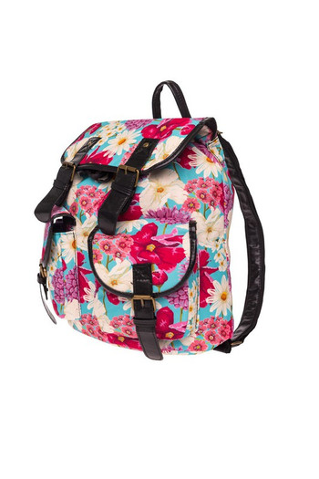Wholesale - Striking Floral Graphic Print Buckle Flap Backpack