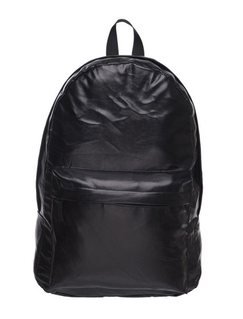 Wholesale - Black Faux Leather Backpack