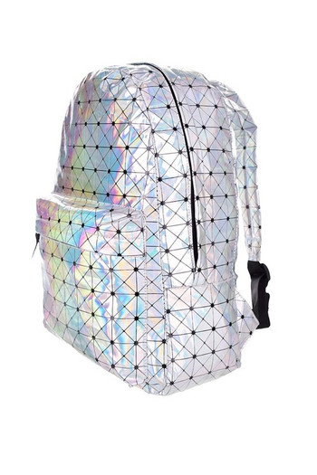 Wholesale - Metallic Holographic Triangle Print Backpack