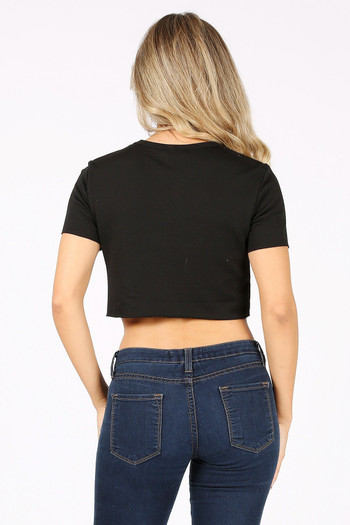 Wholesale - Solid Basic French Terry Short Sleeve Crop Top