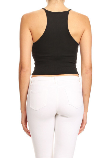 Wholesale - Solid Basic Thermal Spaghetti Strap  Racerback Top