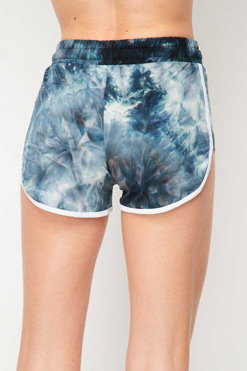 Wholesale - Buttery Soft Navy Tie Dye Side Striped Drawstring Waist Dolphin Shorts