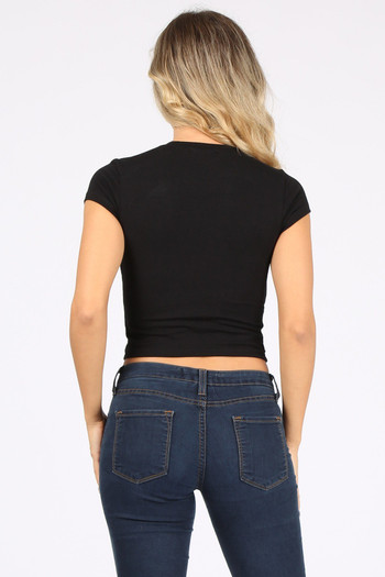 Wholesale - Solid Basic Cotton Short Sleeve Crop Top