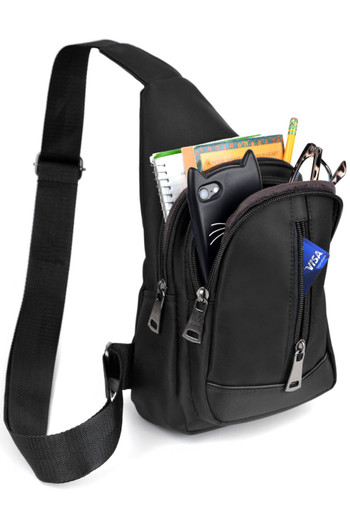 Wholesale - Black Nylon Crossbody Sling Bag with 3 Front Zipper Compartments