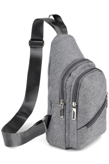 Wholesale - Chambray Crossbody Sling Bag with Zipper Compartments - 3 Colors